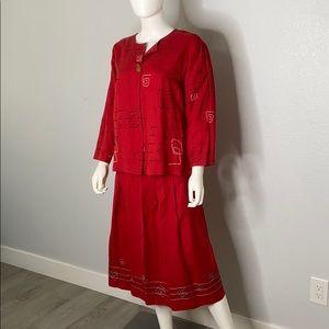 Hearts of Palm Boho Embroidered Jacket Skirt Set